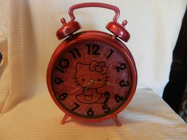 "Hello Kitty Large Pink Alarm Clock from Sanrio 2014 Pink Glitter 12"" Tall - $51.97"