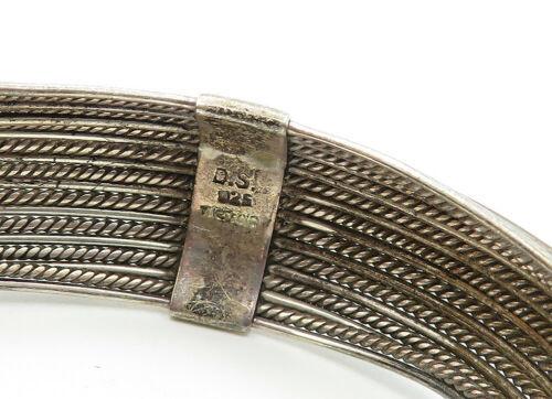 925 Sterling Silver - Vintage Twist Detailed Round Cuff Bracelet - B6222 image 4