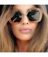 Luxury Brand Designer Half Frame Sunglasses Women Fashion Vintage Oversi... - $75.92