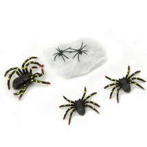 12pk Black Spiders and 2 Stretchable Web Halloween Haunted House Decorat... - $9.46