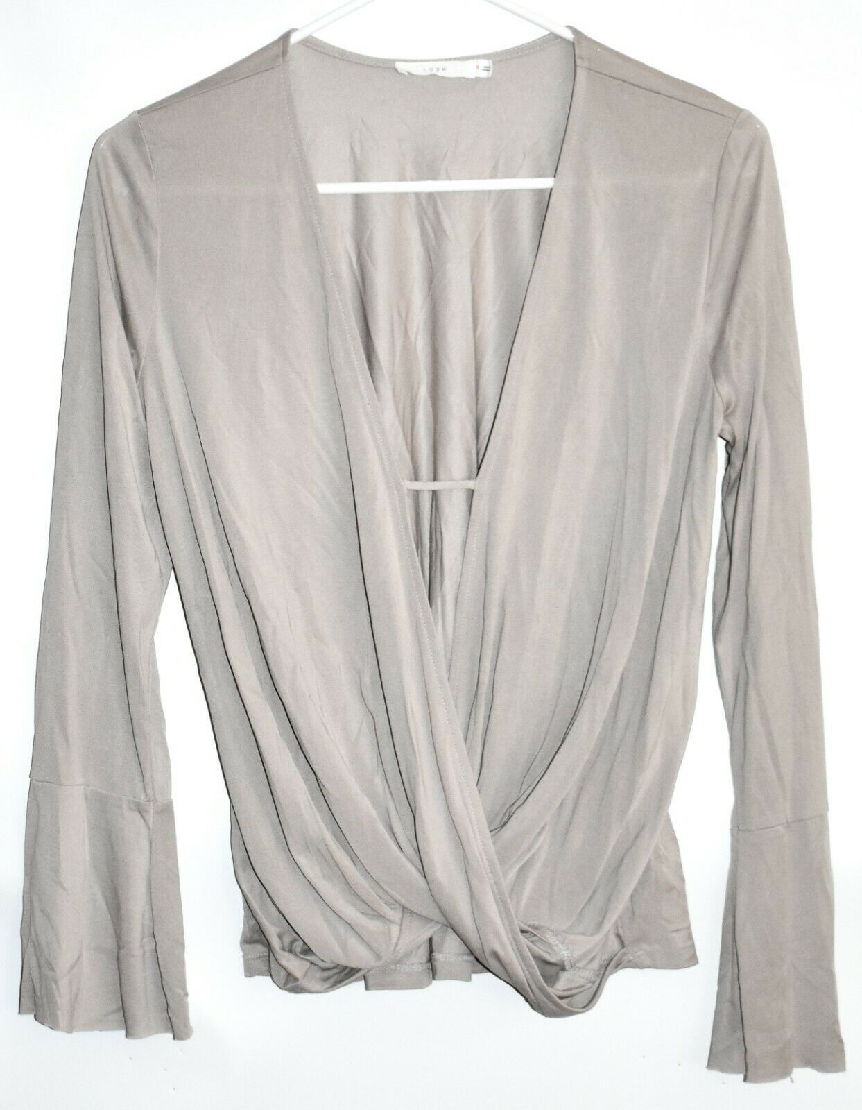 Lush T11892-I Long-Sleeved Beige Model Blend Blouse Top Size S