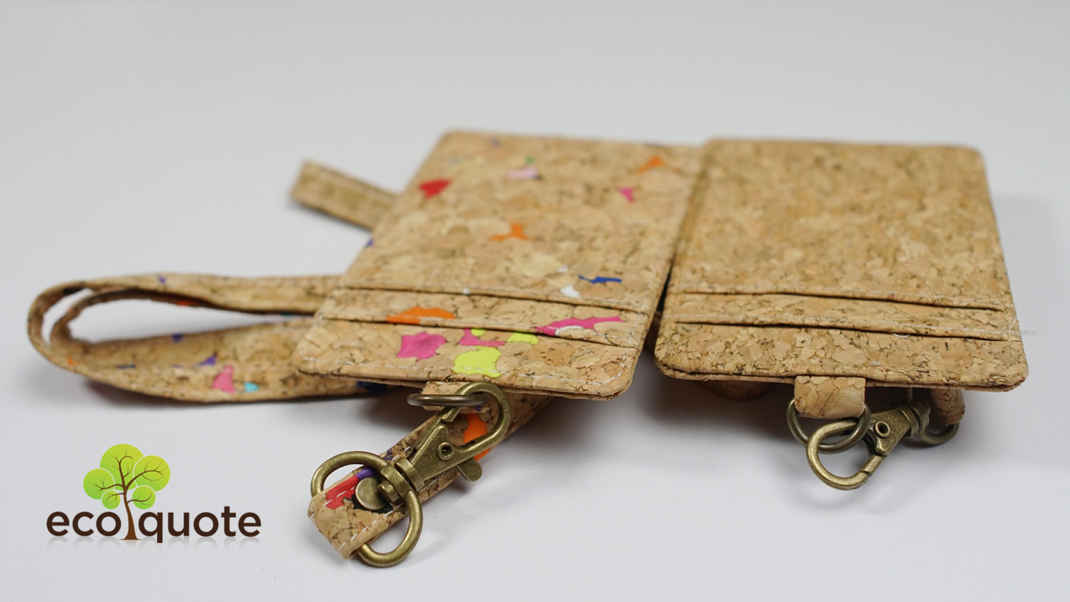 EcoQuote Lanyard with Badge Holder Handmade Cork Material Eco Friendly for Vegan