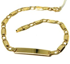 BRACELET YELLOW GOLD 18K 750, INSERTED RECTANGULAR, OVALS, BUBBLES, PLATE - $382.43