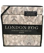 LONDON FOG Light Aqua Damask Pattern Queen Sheet Set, 6 pcs, 100% Polyes... - $85.64