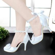 Ivory or white Satin and Pearls High Heel wedding Shoes,ankle strap brid... - $99.99+