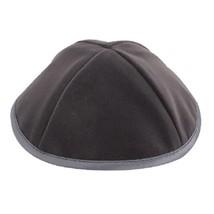 Gray Velvet Plush Kippah Yarmulke Yamaka Silk Rim Judaica Israel 21 cm
