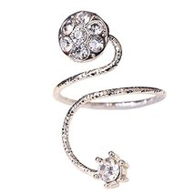 Rhinestone Fingernail Ring Bend Nails Cap Cover Finger Joint Art Charm, Silvery