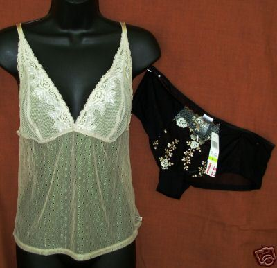 New DKNY sz Medium Camisole Boyshort Panties sheer stretch nylon combo M