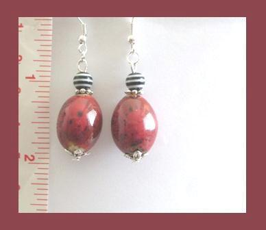 Beautiful Red Porcelain Earrings
