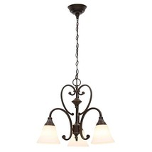 Hampton Bay Somerset 3-Light Bronze Chandelier with Bell Shaped Frosted... - $133.43