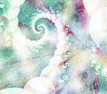 Softly Spiral, Fractal Based Image size 11x14,teal, purple,