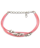 """ANKLET MOON STARS PINK CHARMS FRIENDSHIP STRAP ACRYLIC ADJUSTABLE TO 9"""" - $9.45"""