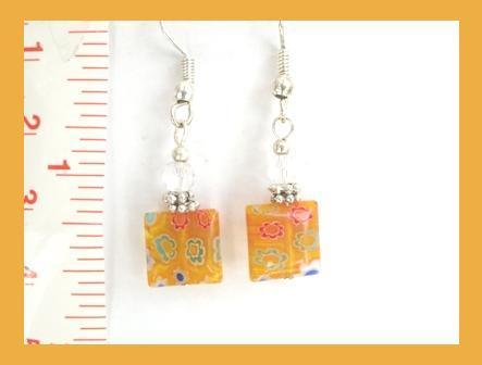 Orange Flat Millefiori Earrings w/ Swarovski Crystals