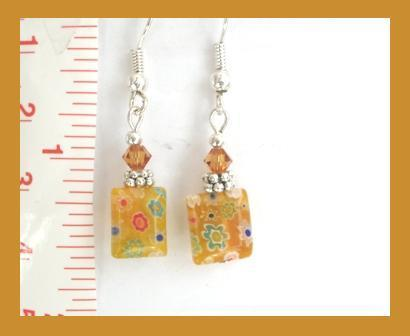 Flat Millefiori Earrings w/ Swarovski Crystals