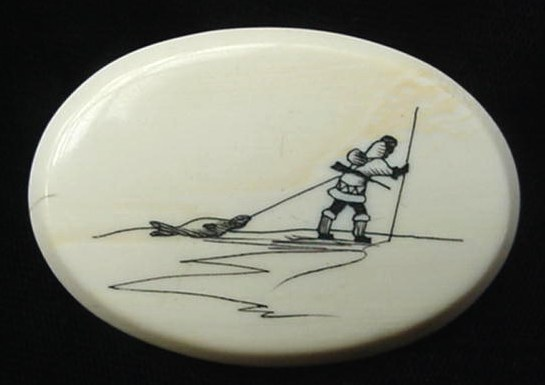 Old Eskimo Seal Hunter Scrimshaw Walrus Ivory Pin Alaska