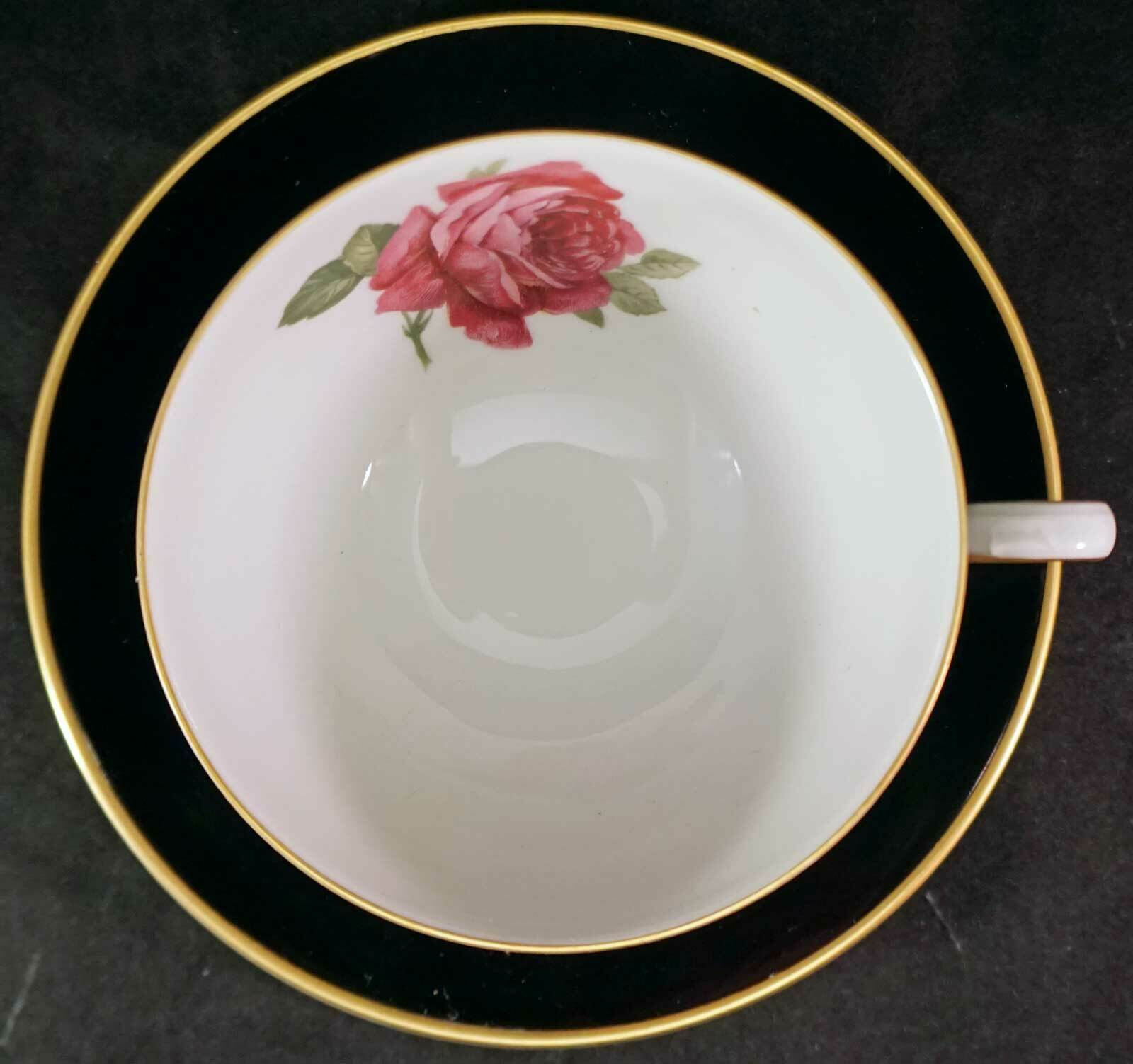 Primary image for Vintage Thomas Germany Black w/ Red/Pink Rose Gold Trim Cup & Saucer Rosenthal