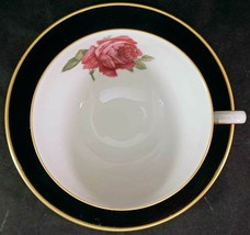 Vintage Thomas Germany Black w/ Red/Pink Rose Gold Trim Cup & Saucer Ros... - $25.99