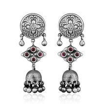 Indian Handmade Designer Oxidized 925 Silver Pink Hydro Gemstone Earrings - $81.18