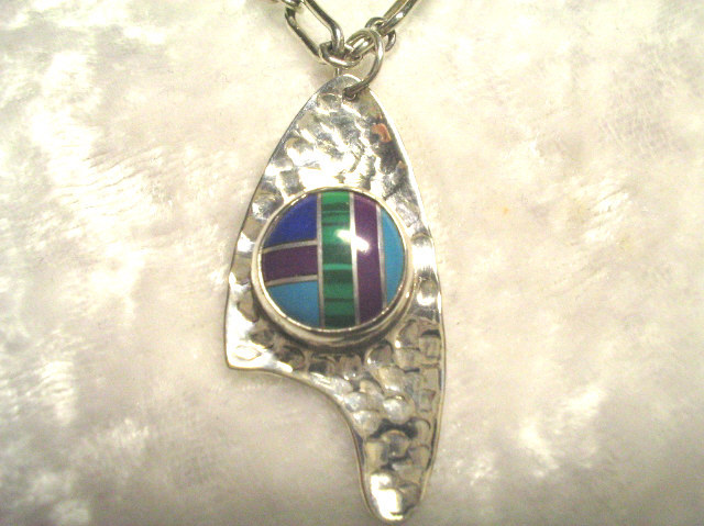 Shanrocks Hammered Silver Pendant with Inlaid Stone