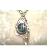 Shanrocks Hammered Silver Pendant with Inlaid Stone - $72.00