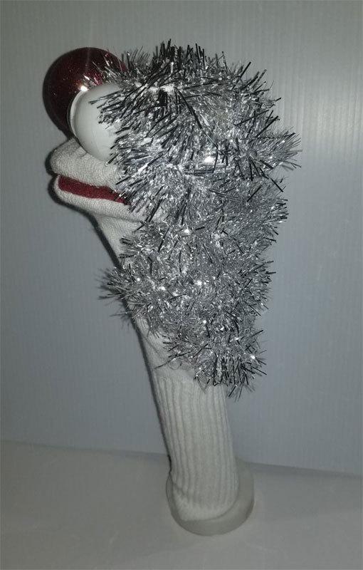 """D4 * Basic Custom """"Silver Mane of Hair""""  Sock Puppet * Custom Made"""