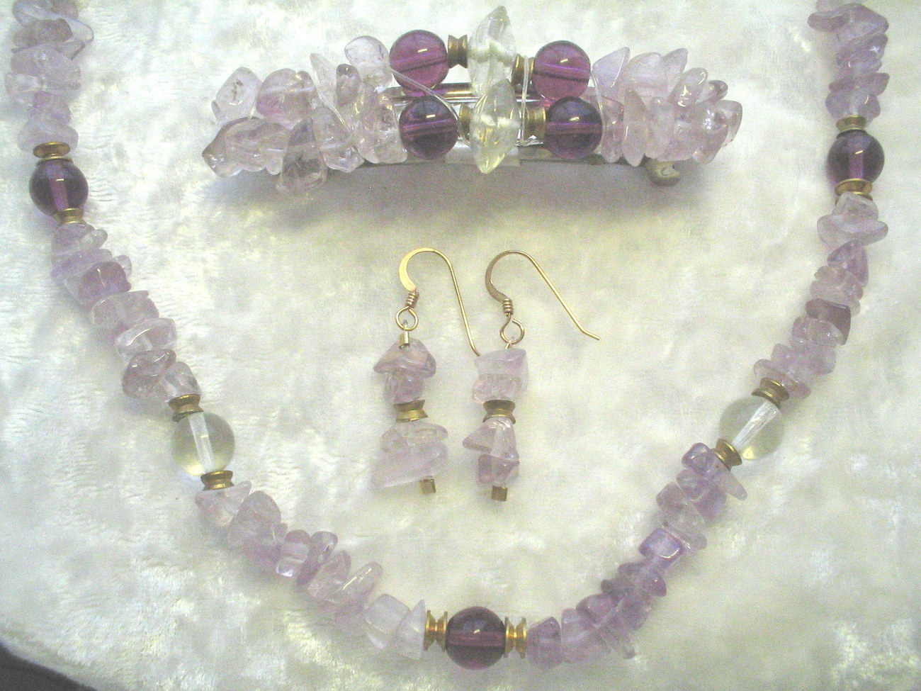 Amethyst Beaded Necklace, Earring, and Barrette Set