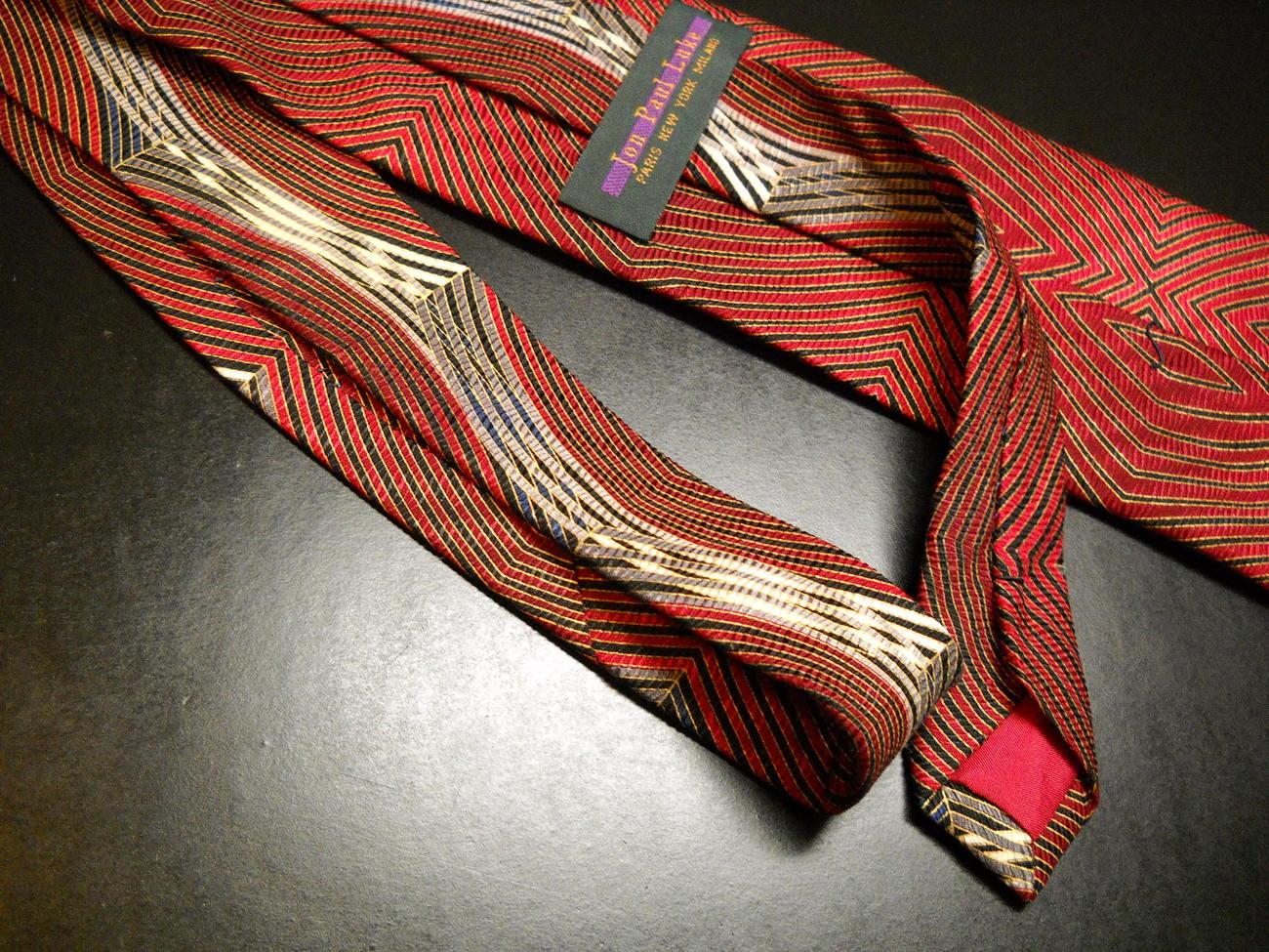 Jon Paul Luke Neck Tie Waves of Reds Golds Black Silk Hand Made Designed Italy
