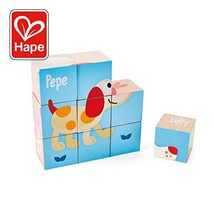 Hape Friendship Puzzle Blocks| 6-in-1 3D Animal Printed Wooden Jigsaw Puzzle Cub
