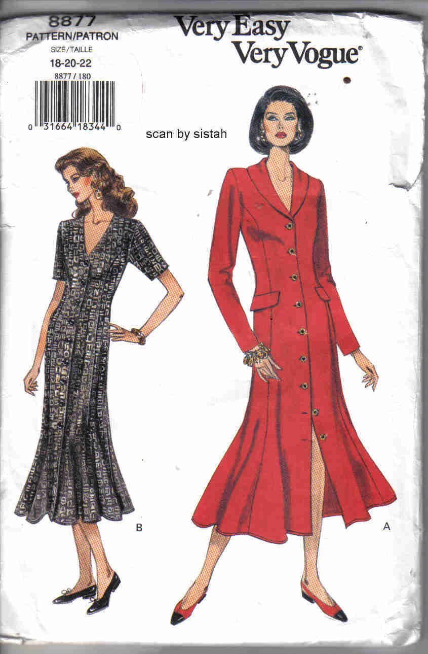 Vogue 8877 Pattern 18 20 22 Dress  plus petite  button front flare coatdress