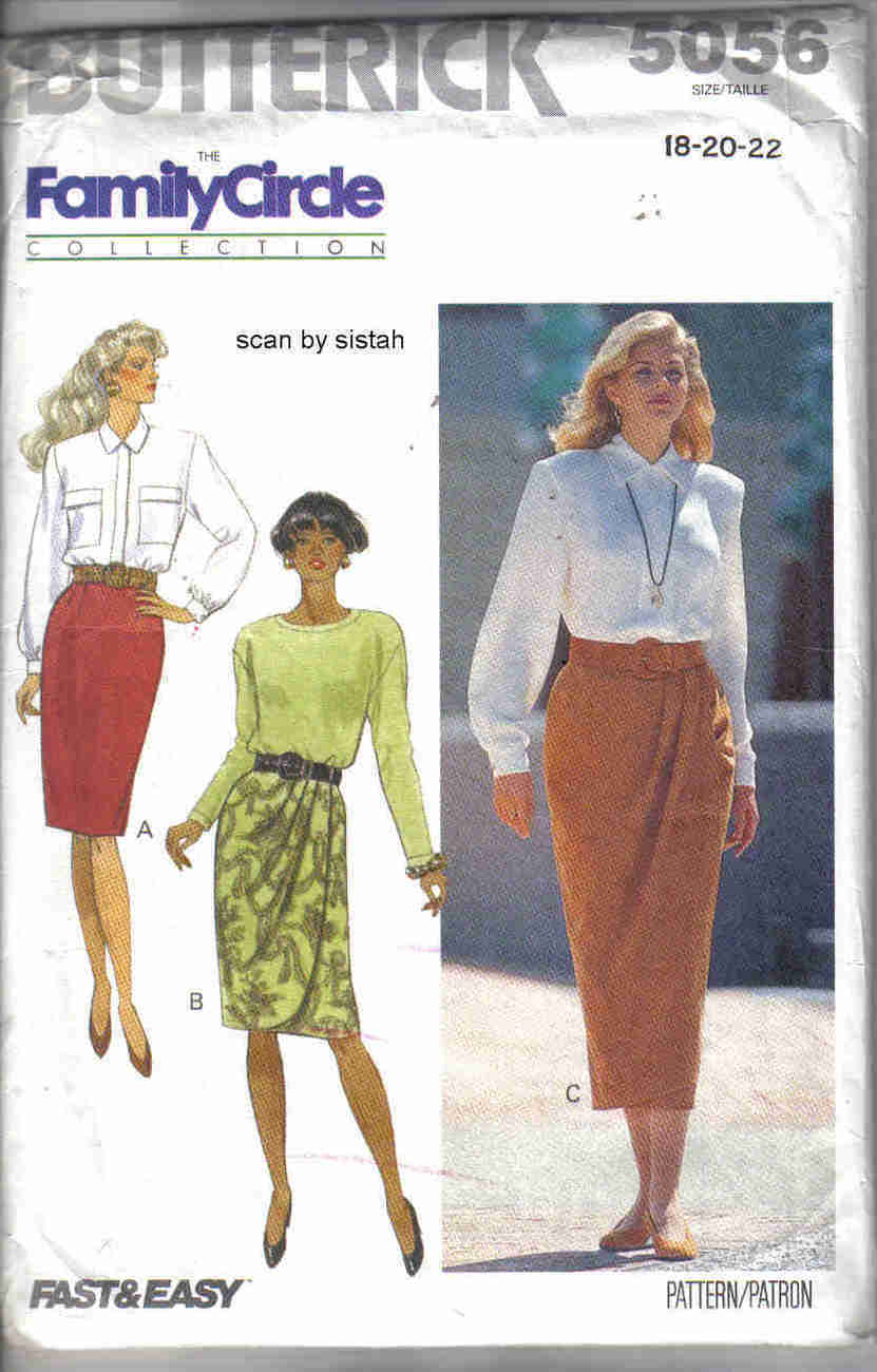 Butterick 5056 Pattern 18 20 22 Skirt mock wrap front misses career dressy