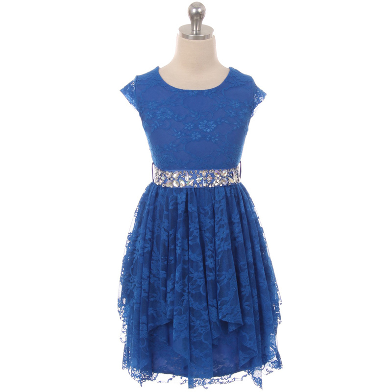 Navy Blue Short Sleeve Floral Lace Asymmetric Ruffles Rhinestones Belt Dress