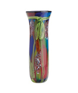 Vase hand-crafted each is unique peacock feather  beauty art glass - $49.99