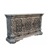 """84""""W Rustic Carved Country Farmhouse Gray Large Server Sideboard Buffet ... - $2,608.33"""