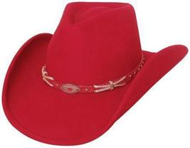 Bullhide Emotionally Charged Wool Cowgirl Hat Red Jeweled Silver Concho Red  - $76.00