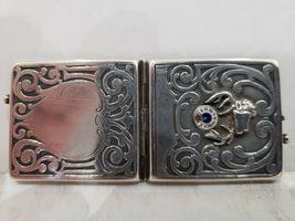 Antique Fraternal Elks BPOE Sterling Silver Card Case / Enameled Plague -1900's image 6
