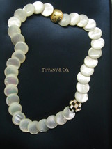 "Tiffany & Co Mother of Pearl & Onyx Necklace 18Kt Yellow Gold 18"" - $3,076.68"