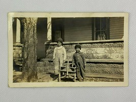 Two Boy Wooden Pull Wagon Cap House Vintage B&W Photograph Snapshot 3 x 5 - $12.86