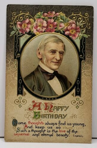 Happy Birthday Emerson Quote John Winsch 1910 Embossed Gilded Postcard E4