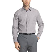 Van Heusen Men's Cool Grey Wrinkle Free Athletic Fit Poplin Dress Shirt M image 2
