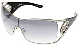 John Richmond Sunglasses Women Shield Silver Palladium Black Grey JR631 02  - $68.31
