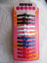 12 Just Basic All Plastic Hair Barrettes Clips Pin No Metal Black White Red Blue - $10.00