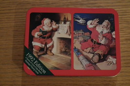1992 2 Deck's of Coca Cola Xmas Playing Cards in Decorative Tin - $12.00