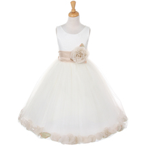 Ivory Satin Bodice Layers Tulle Skirt Champagne Flower Brooch Petals Girl Dress - $50.99+