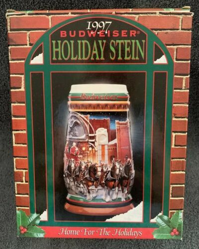 "Primary image for 1997 Budweiser Clydesdales Holiday Beer Stein ""Home For The Holidays"" CS 313"