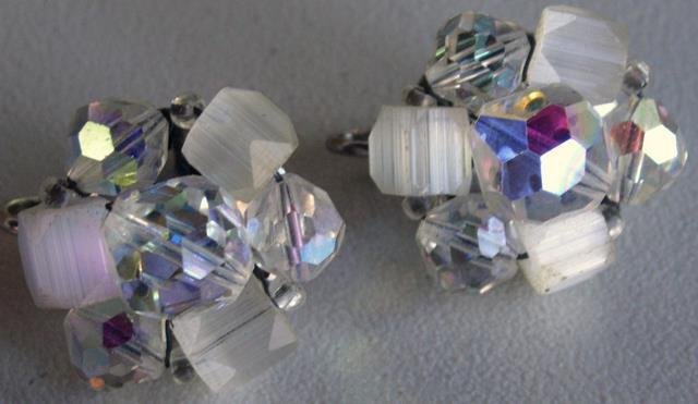 "Vintage Crystal Cluster Clip on ""Laguna"" Earrings Signed"