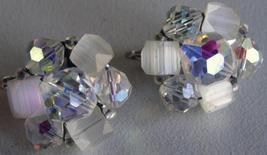 "Vintage Crystal Cluster Clip on ""Laguna"" Earrings Signed image 1"