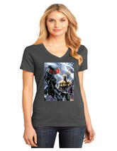 Black Manta District Made Ladies Perfect Weight V-Neck T-Shirt Size XS To 4XL - $19.99+