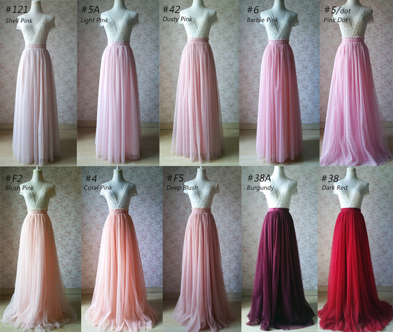 TAFFY PINK Full Tulle Skirt Bridesmaid Tulle Prom Skirt Dot High Waist US0-US28