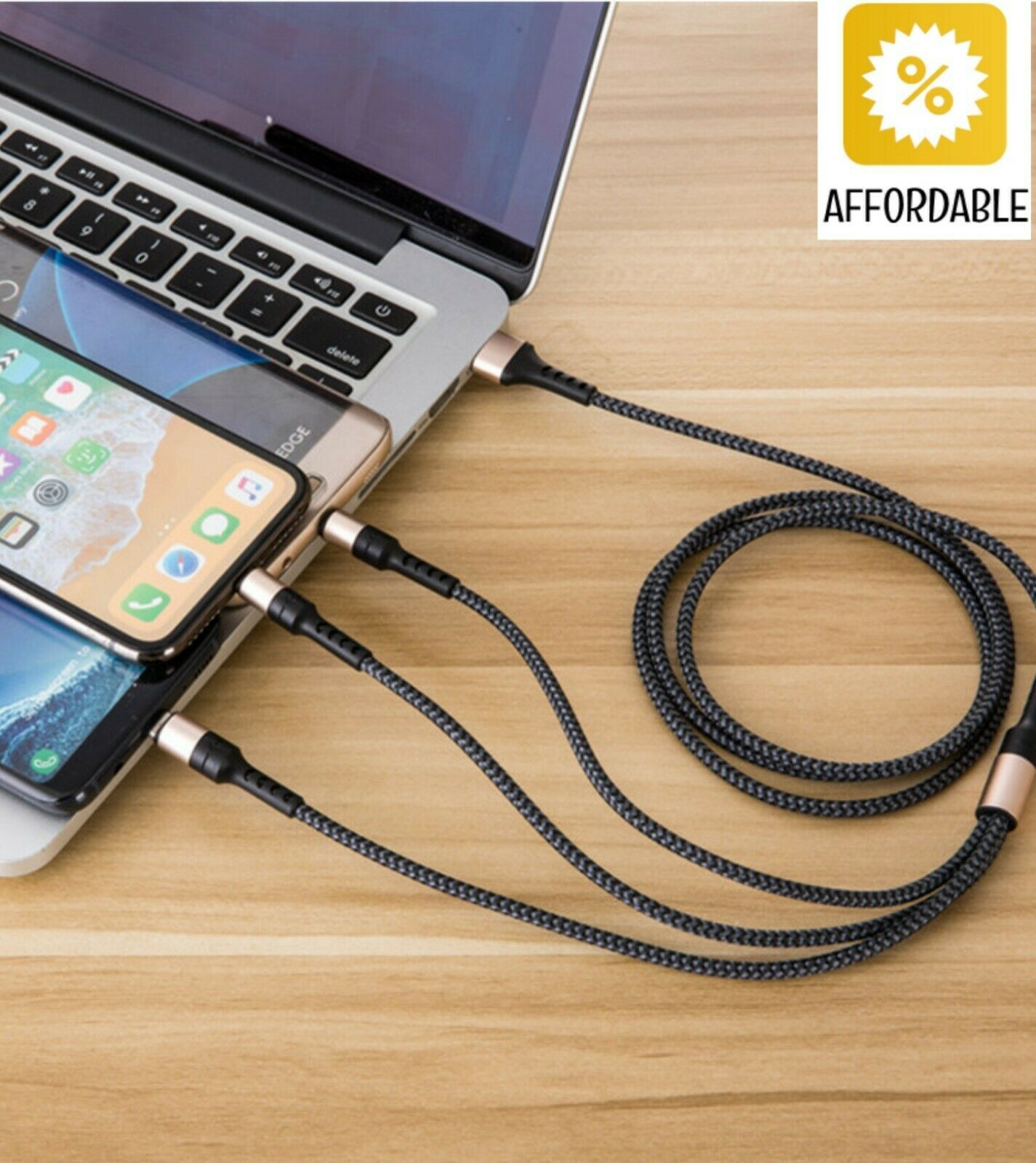 USB Cable Wire 5A Super Charging 3 in 1 Fast Charger For Huawei Mate 20 P20