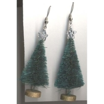 Christmas TREE SISAL EARRINGS-Vintage Evergreen Pine Jewelry-2-inch-A - $5.97